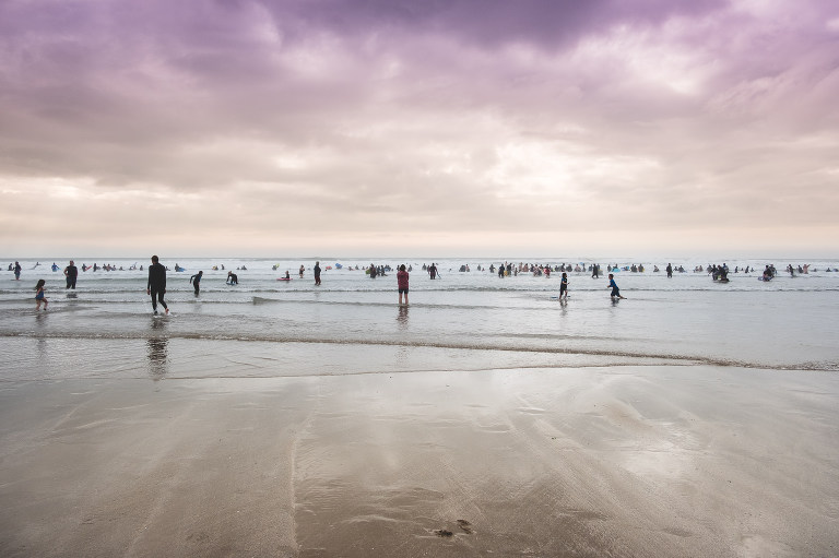Swimmers at Croyde bay