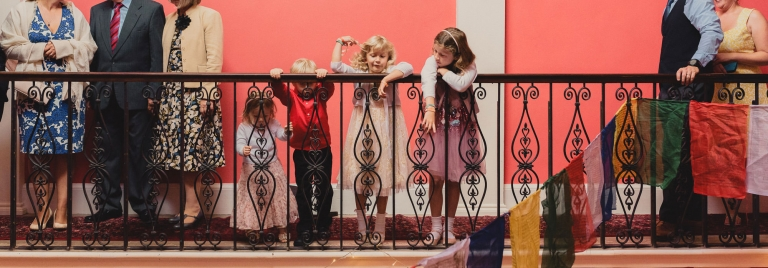 kids at a wedding at Buckland house in Devon