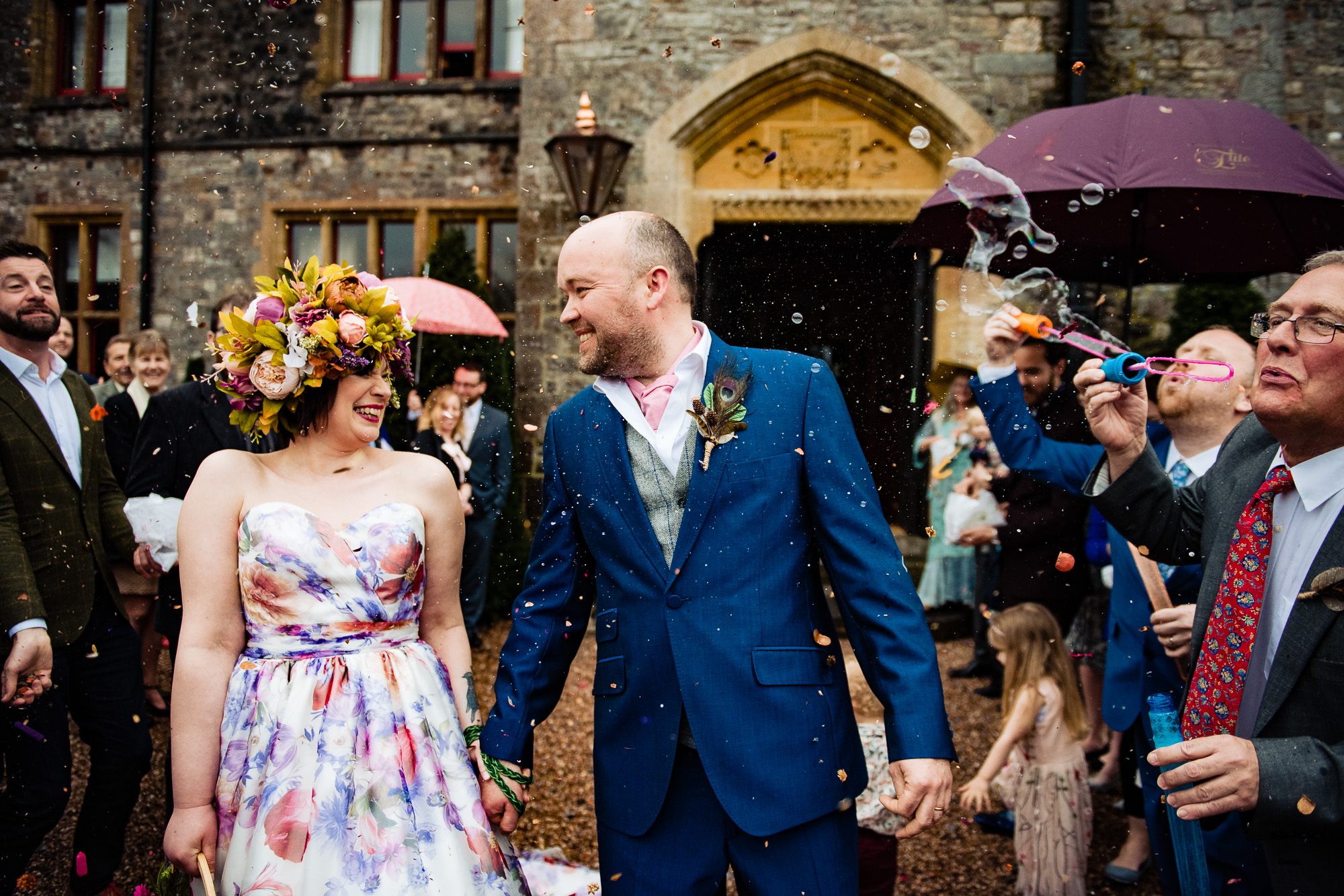 The Bride and groom, Confetti and bubbles at a Huntsham Court wedding