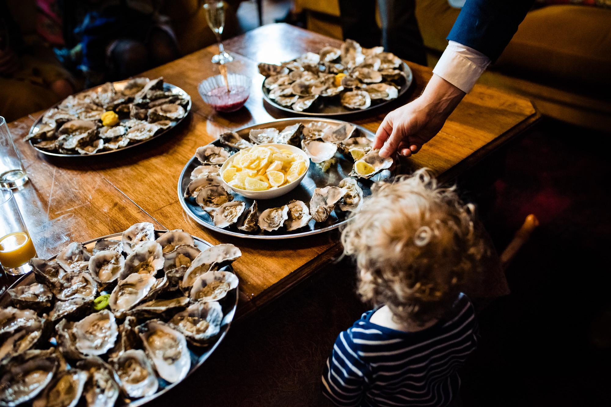 Oysters at a Huntsham Court wedding reception